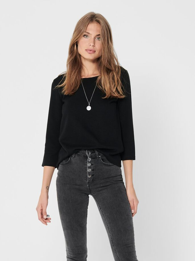 ZIP BACK 3/4 SLEEVED TOP, Black, large
