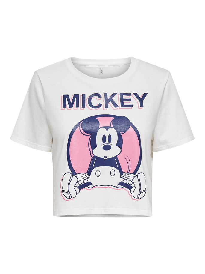 CROPPED MICKEY PRINT T-SHIRT, Bright White, large