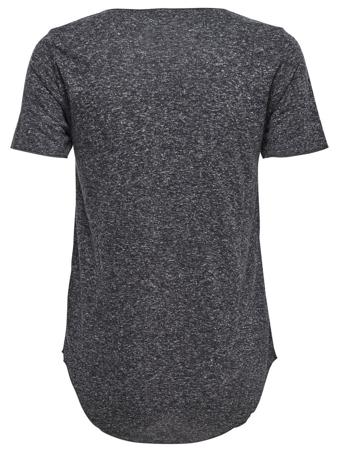 LOOSE FIT KORTÄRMAD TOPP, Dark Grey Melange, large