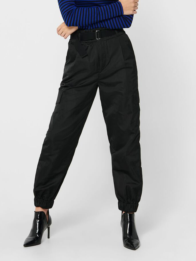 TRACK SATIN TROUSERS, Black, large