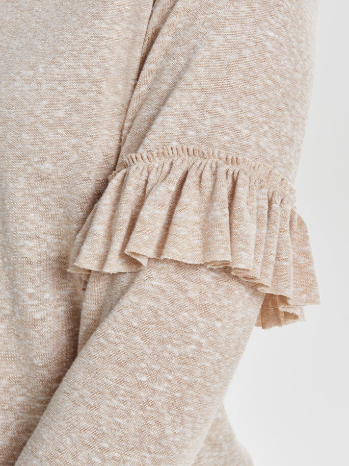 FRILL KNITTED PULLOVER, Pumice Stone, large