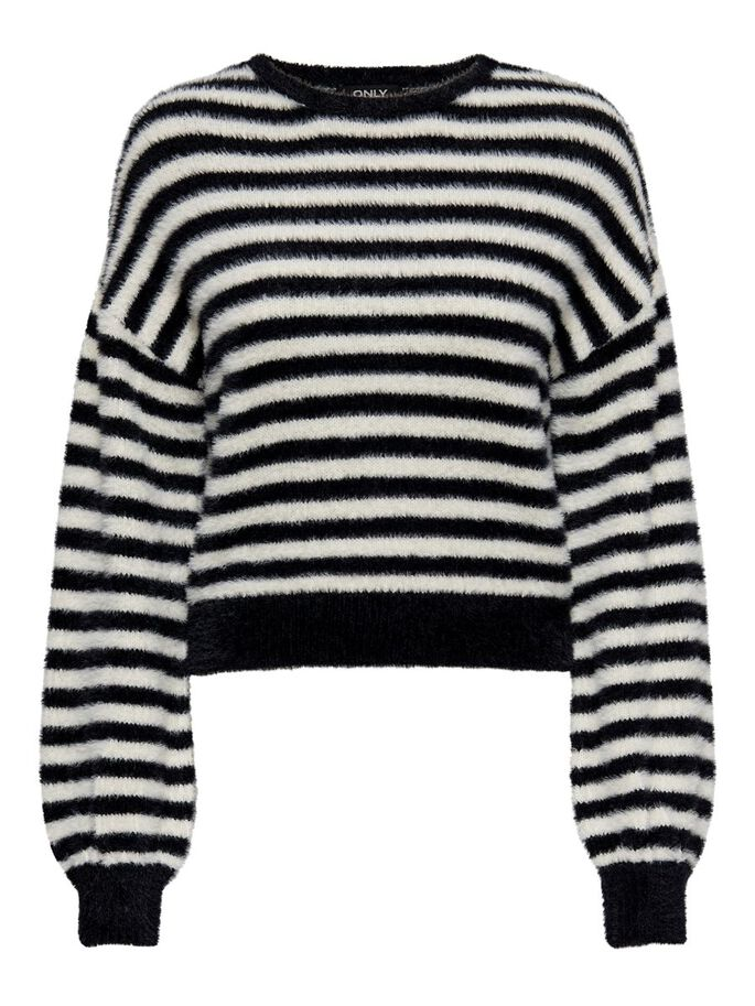 STRIPED KNITTED PULLOVER, Black, large