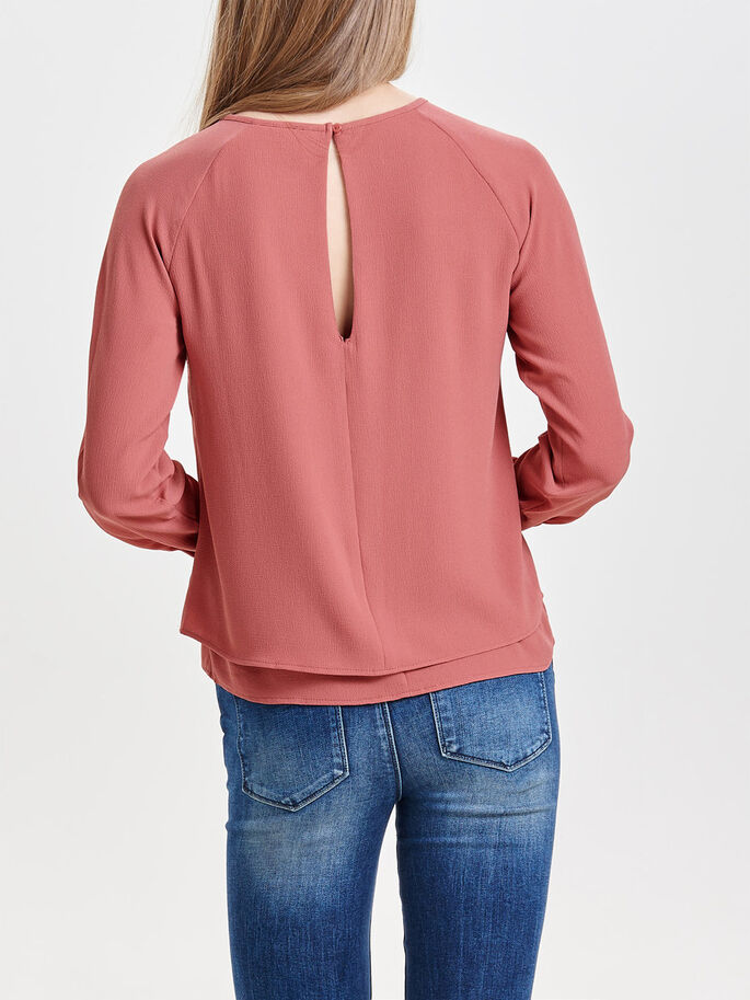 SOLID LONG SLEEVED TOP, Withered Rose, large