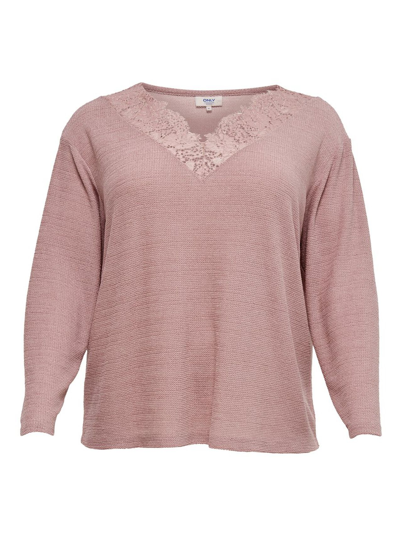 ONLY Curvy Lace Detail Long Sleeved Top Women Pink