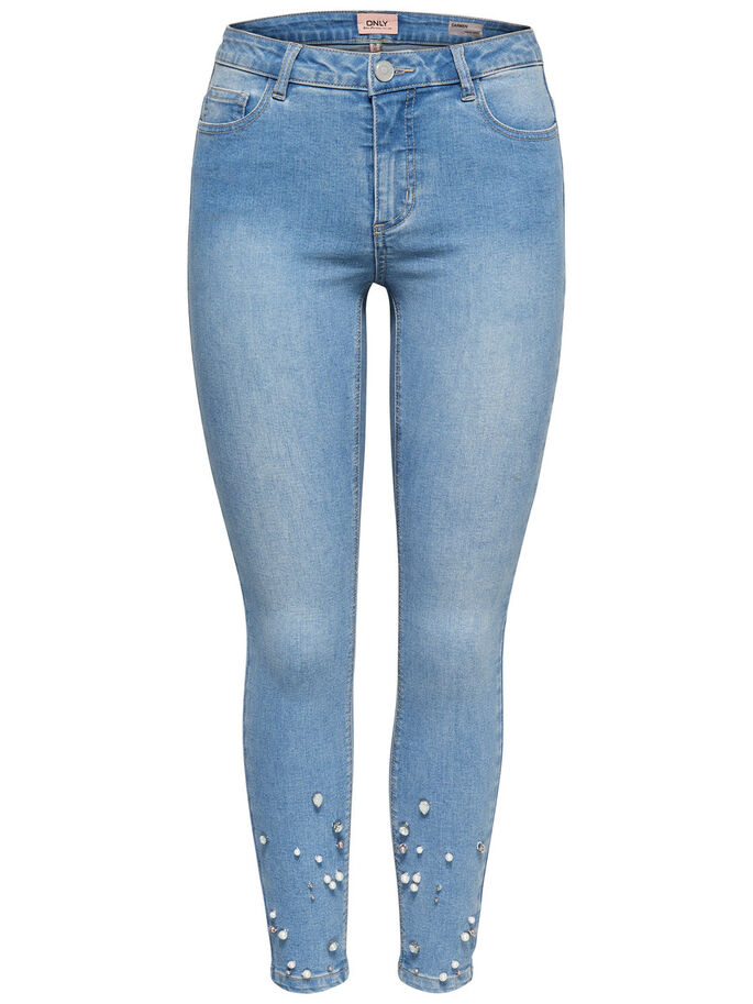 CARMEN REG KNÖCHEL-PERLEN- SKINNY FIT JEANS, Light Blue Denim, large