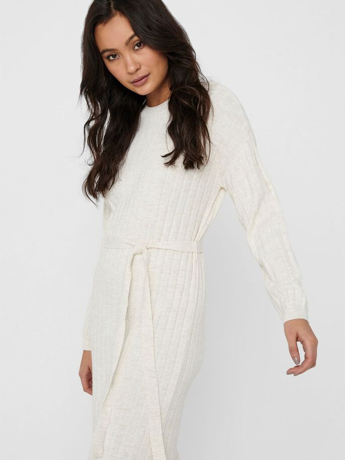 LONG SLEEVED KNITTED DRESS, Pumice Stone, large