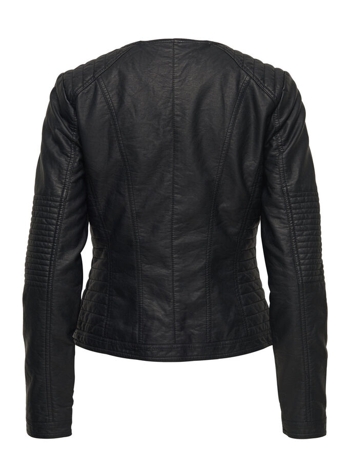 LEATHER LOOK SHORT JACKET, Black, large