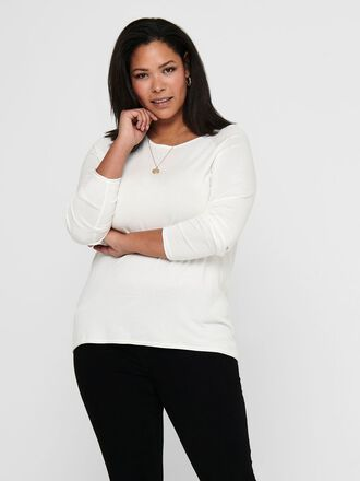 CURVY SOLID COLORED KNITTED PULLOVER