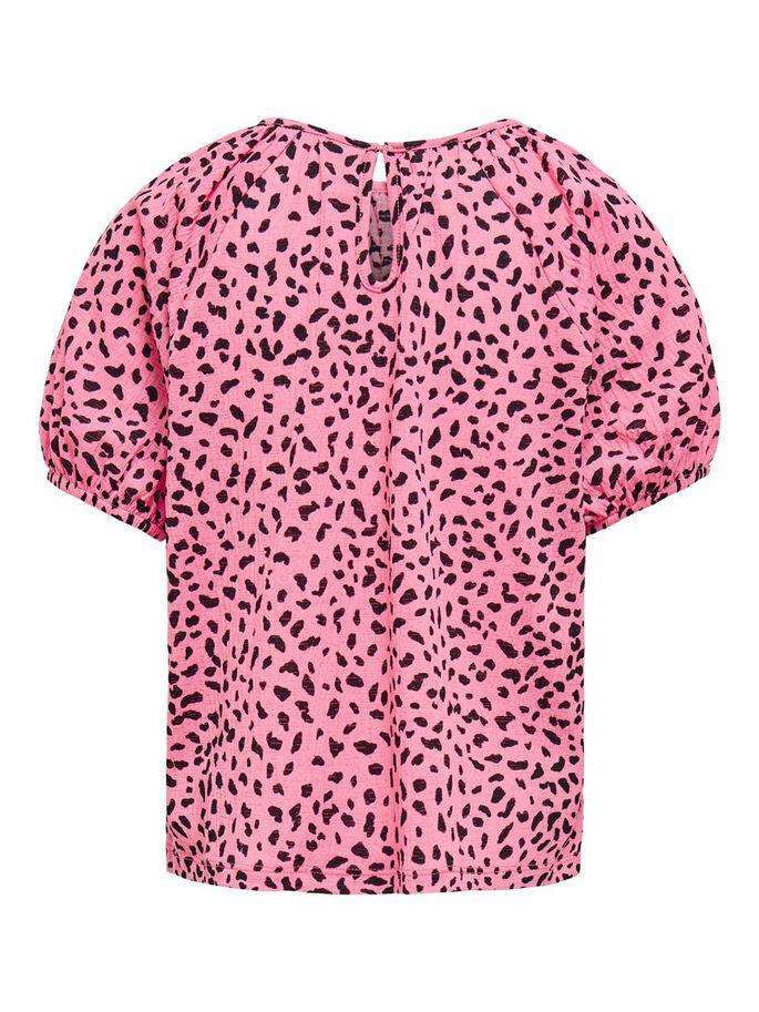 PUFF SLEEVE TOP, Strawberry Pink, large