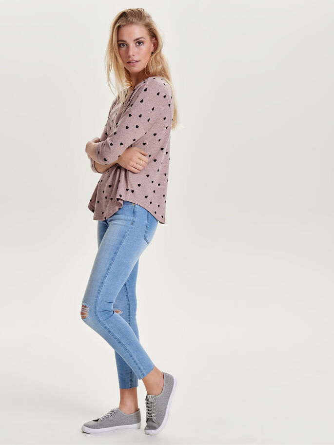 LOOSE 3/4 SLEEVED TOP, Misty Rose, large