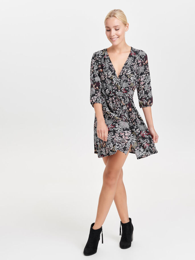 PRINTED DRESS, Black, large