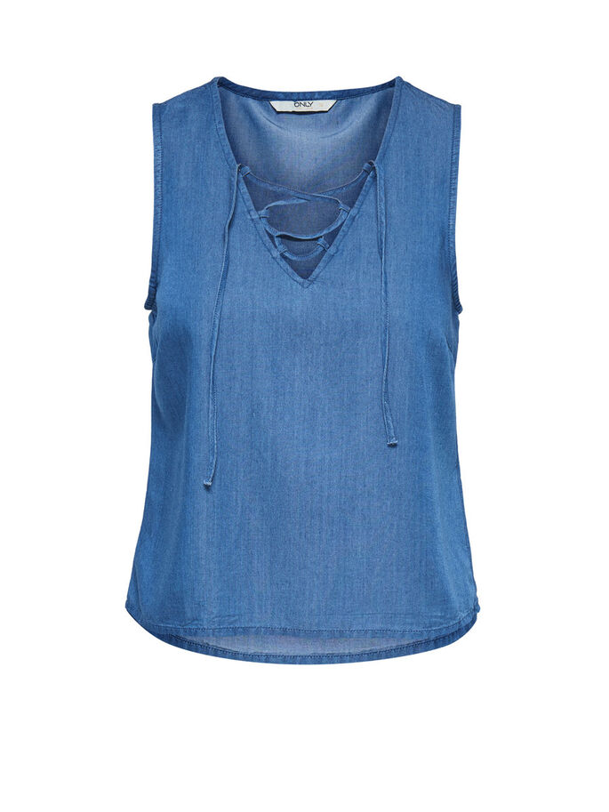 LACE UP SLEEVELESS TOP, Dark Blue Denim, large