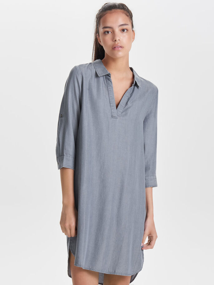 LOOSE DRESS, Grey Denim, large