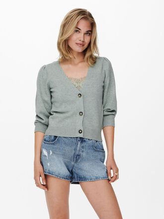 PUFF SLEEVE KNITTED CARDIGAN