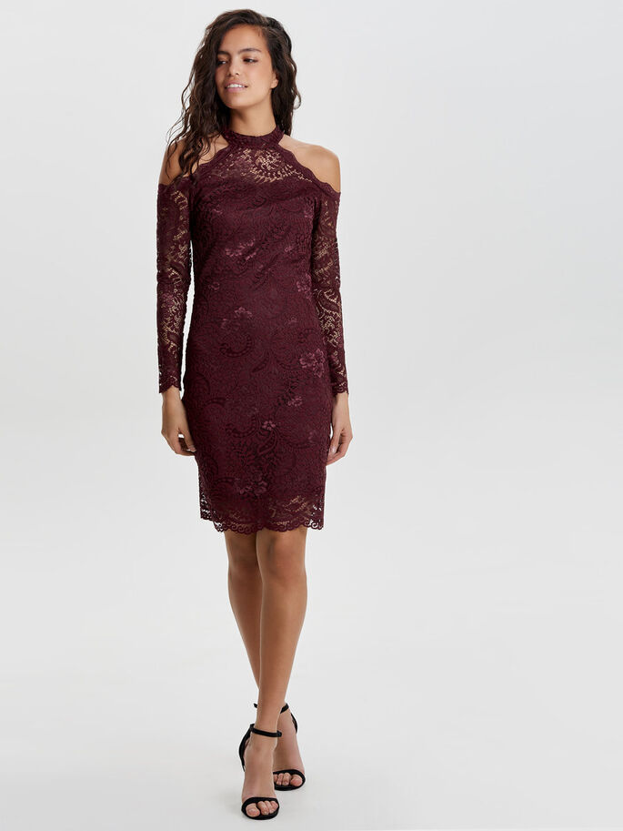 LACE LONG SLEEVED DRESS, Zinfandel, large