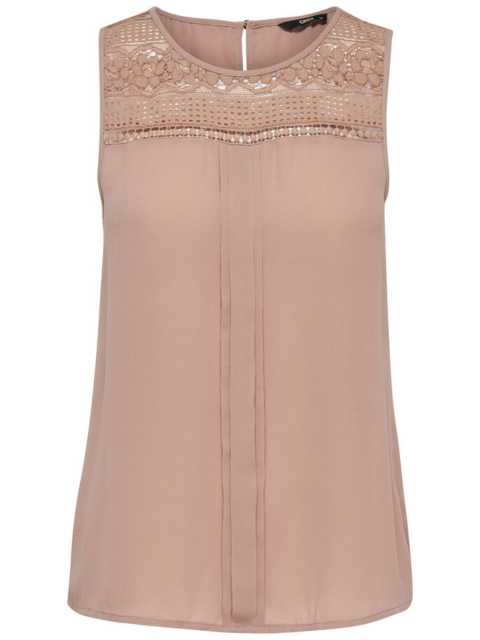LACE DETAILED SLEEVELESS TOP, Warm Taupe, large