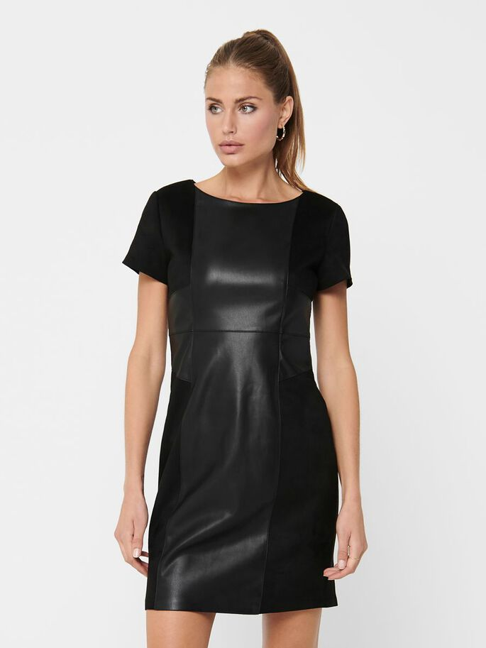 FAUX LEATHER DRESS, Black, large