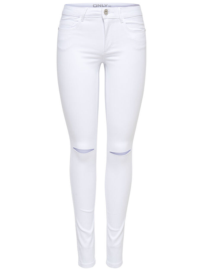 ROYAL REG KNEECUT WHITE SKINNY FIT JEANS, White, large