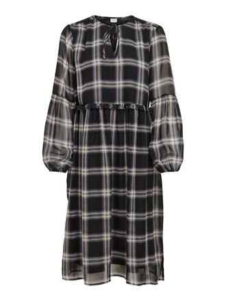 CHECKED KNEE-LENGTH DRESS