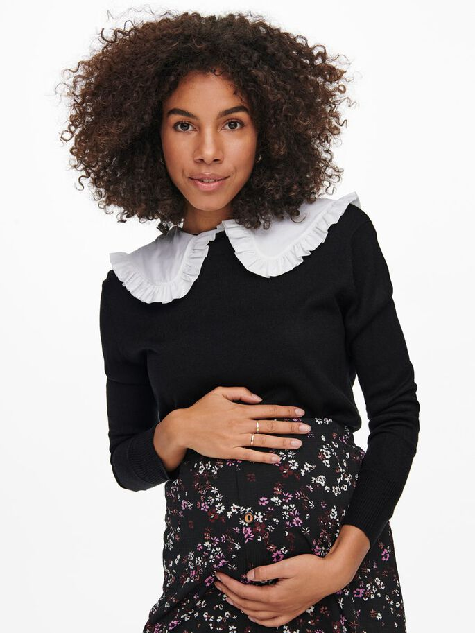 COLLAR KNITTED PULLOVER, Black, large