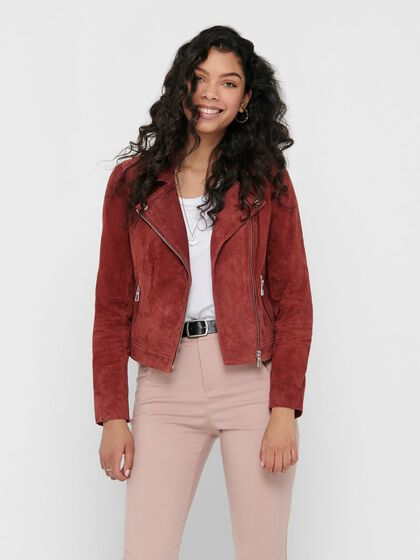 Women/'s Real Leather Jacket Tan Suede Classic Casual Fashion Biker Jacket 7113-A