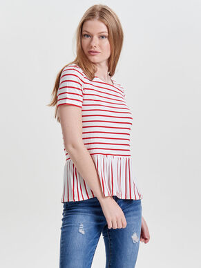 PEPLUM SHORT SLEEVED TOP