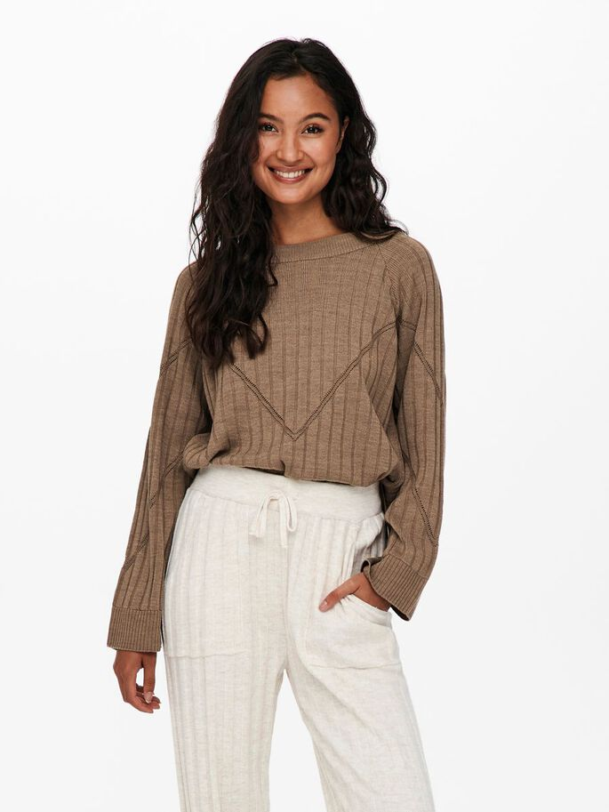 LOOSE FITTED KNITTED PULLOVER, Toasted Coconut, large