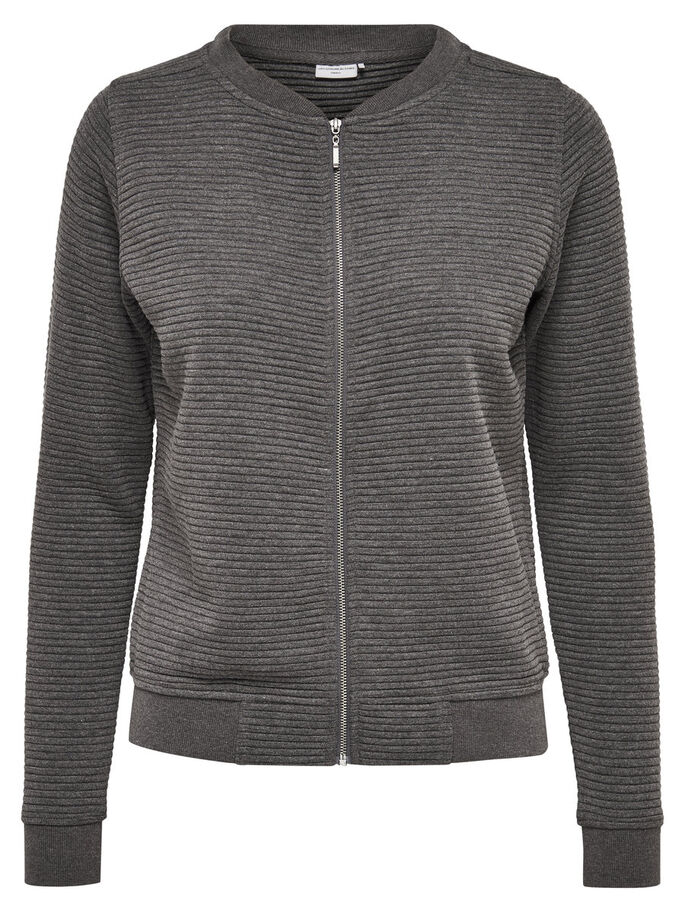 SWEAT- STRICKJACKE, Dark Grey Melange, large