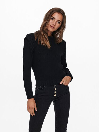 SOLID COLORED KNITTED PULLOVER