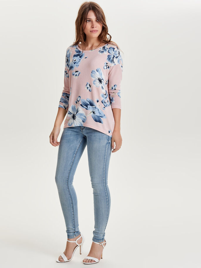 LOOSE FIT TOPP MED 3/4-ÄRMAR, Rose Smoke, large