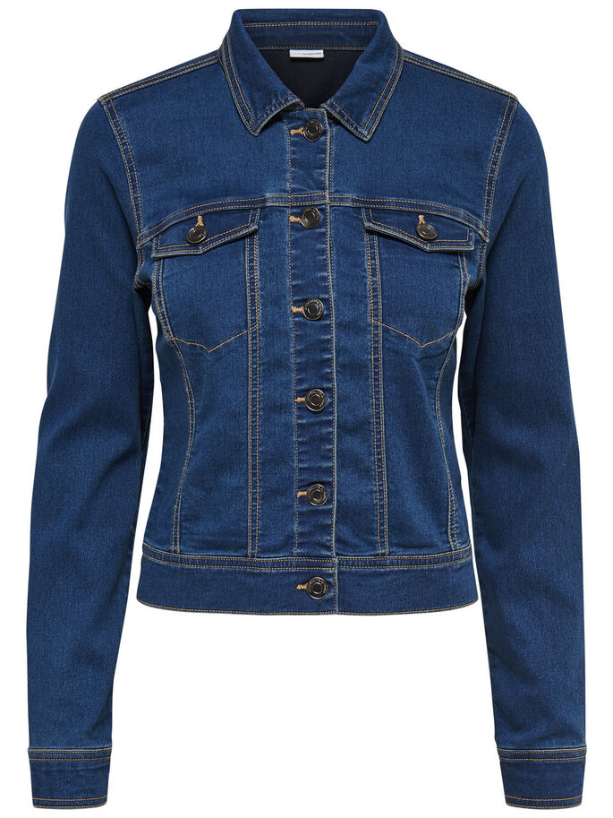 COURTE VESTE EN JEAN, Medium Blue Denim, large