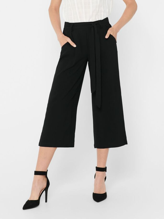 CROPPED TROUSERS, Black, large