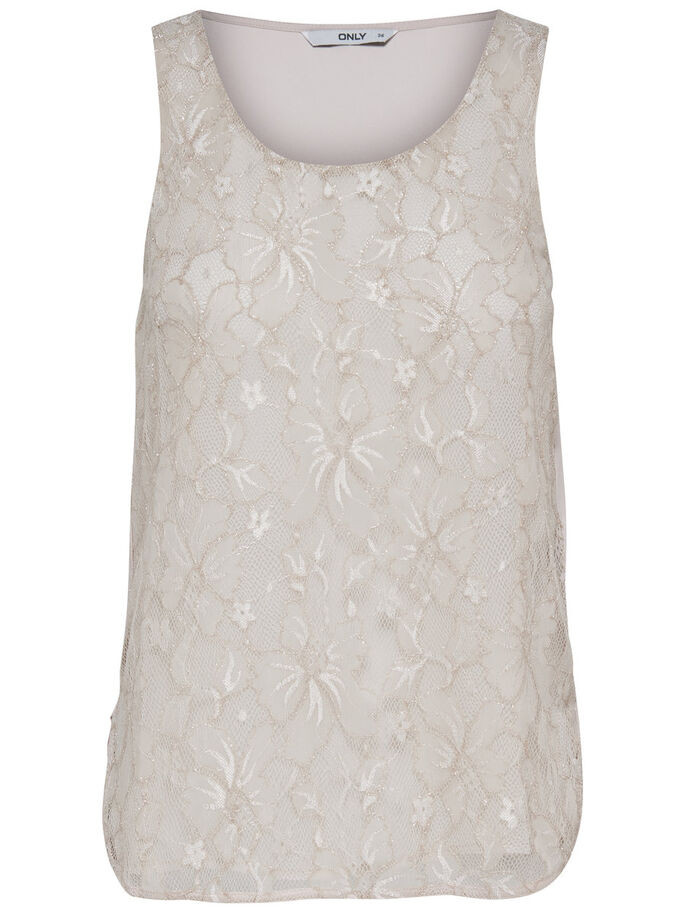 SEQUINS SLEEVELESS TOP, Pumice Stone, large