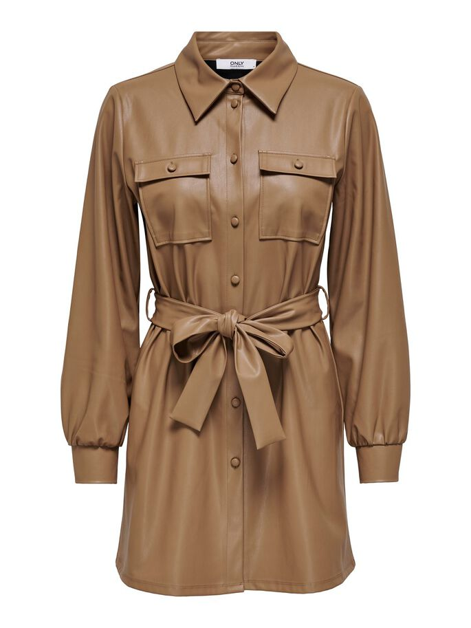 LEATHER LOOK SHIRT DRESS, Warm Sand, large
