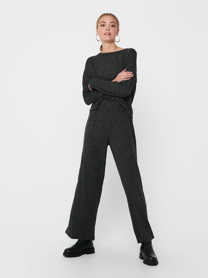 WIDE FITTED TROUSERS, Dark Grey Melange, large