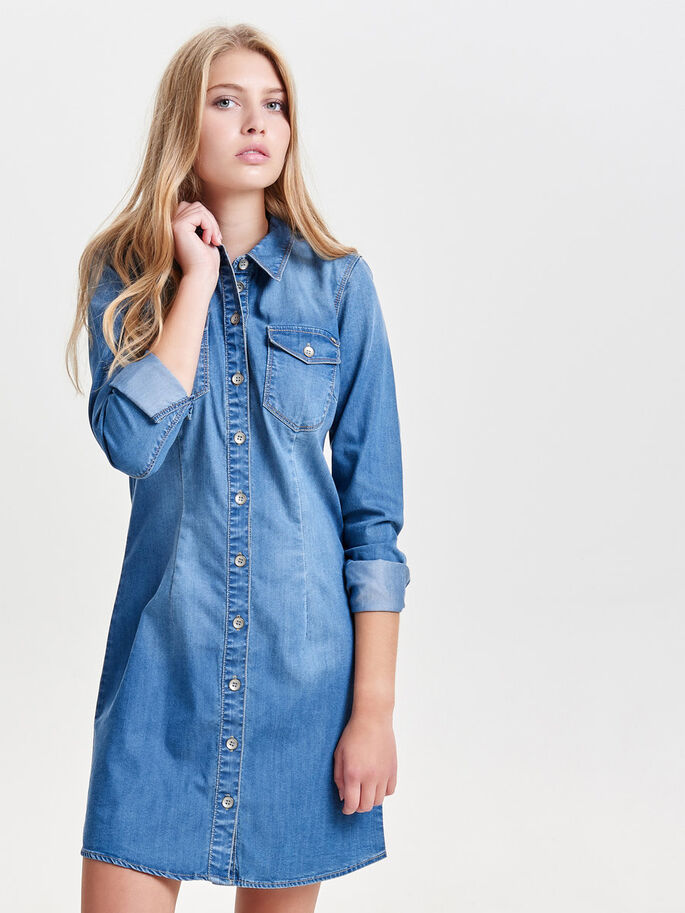 MANCHES LONGUES ROBE EN JEAN, Medium Blue Denim, large