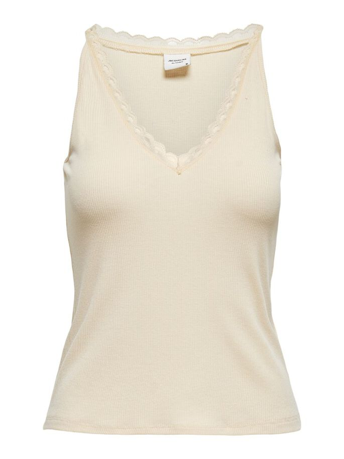 LACE DETAIL SLEEVELESS TOP, Tapioca, large