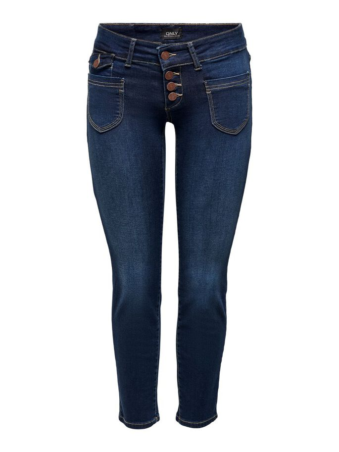 ONLEBBA ANKLE BUTTON STRAIGHT FIT JEANS, Dark Blue Denim, large