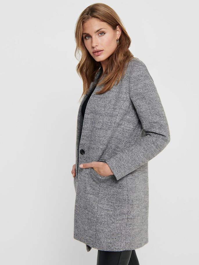 LONG COATIGAN, Medium Grey Melange, large