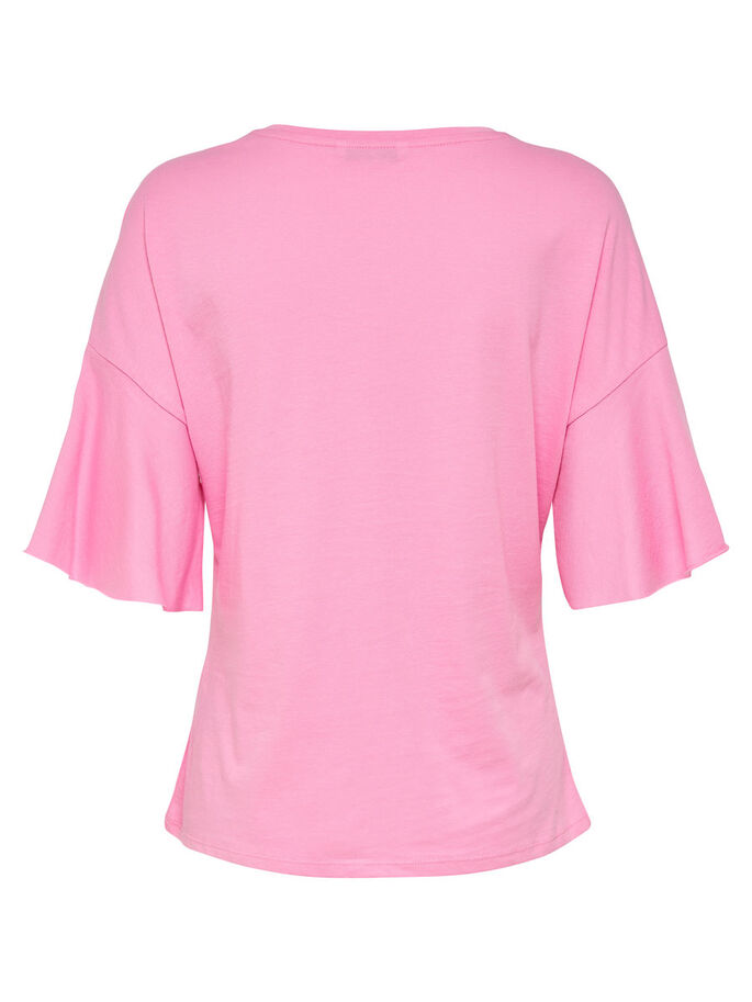 LOOSE SHORT SLEEVED TOP, Prism Pink, large