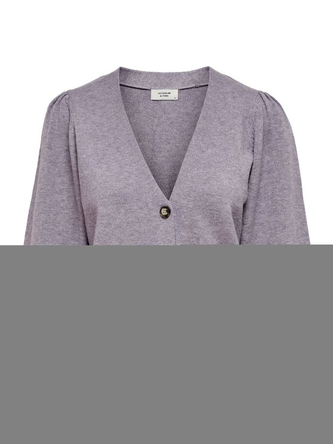 PUFF SLEEVE KNITTED CARDIGAN, Lavender Gray, large