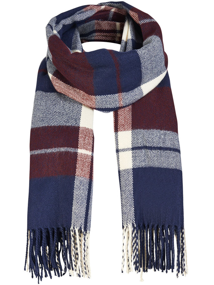 CHECKED SCARF, Tawny Port, large
