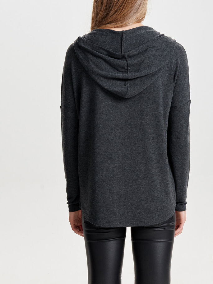LOOSE HOODIE, Dark Grey Melange, large