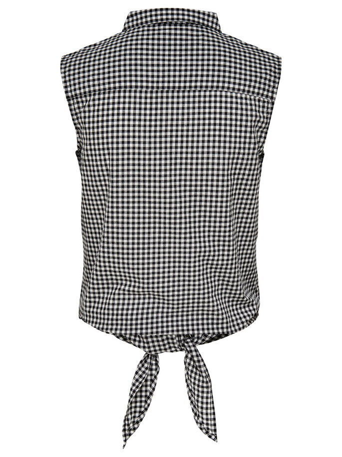 CHECKED SLEEVELESS SHIRT, Black, large
