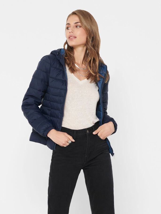 SHORT QUILTED JACKET, Night Sky, large