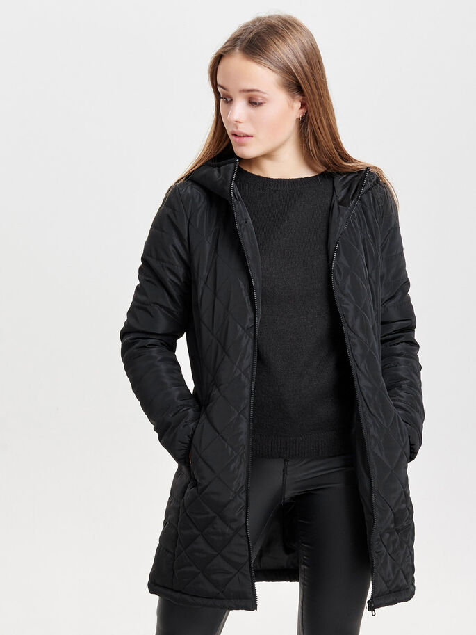LONG VESTE MATELASSÉE, Black, large