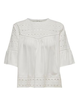 EMBROIDERY ANGLAISE SHORT SLEEVED TOP