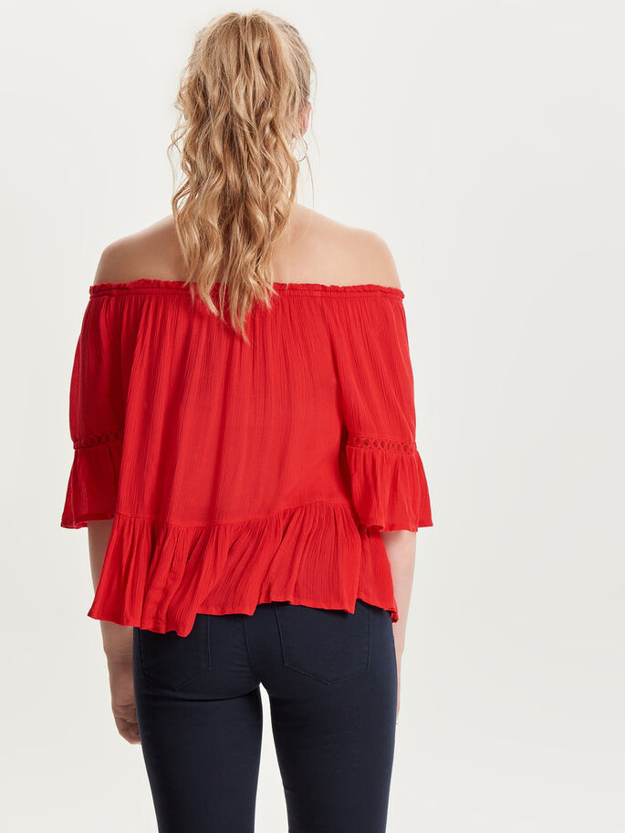 OFF-SHOULDER TOP MET KORTE MOUWEN, Flame Scarlet, large