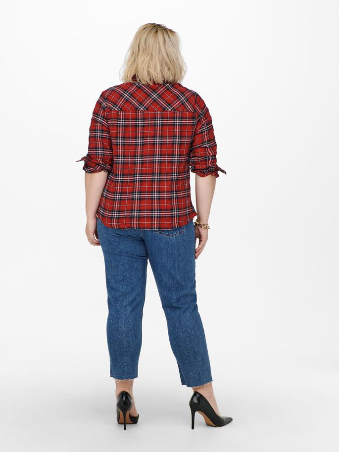 CURVY CHECKED SHIRT, Red Ochre, large