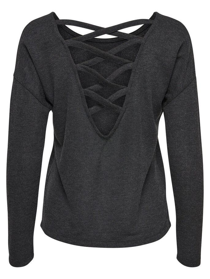 LACE-UP BACK LONG SLEEVED TOP, Dark Grey Melange, large